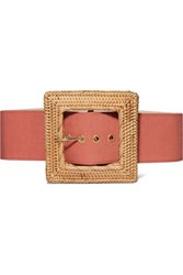 Cult Gaia Sylvie Canvas And Rattan Belt Red