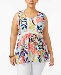 Ny Collection Plus Size Printed Crochet Trim Top Pink Austral