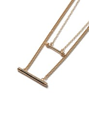 Topman Silver Gold Look Double Bar Multi Row Necklace