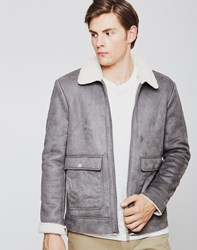 The Idle Man Faux Suede Sherpa Jacket Grey