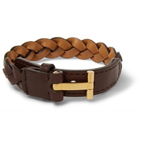 Tom Ford Braided Leather Bracelet Brown