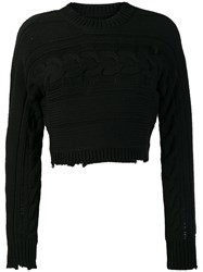 Rta Fever Cropped Cable Knit Jumper Black