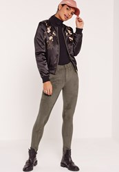 Missguided Faux Suede Skinny Trousers Khaki