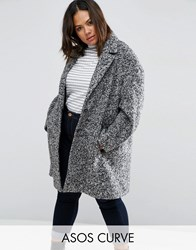 Asos Curve Coat In Cocoon Texture Black