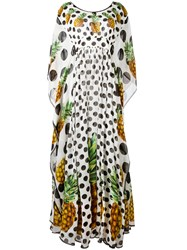 Dolce And Gabbana Pineapple Polka Dot Dress White