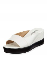 Neiman Marcus Pammelah Leather Platform Slide Sandal White