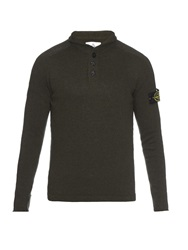 Stone Island Button Neck Wool Blend Sweater