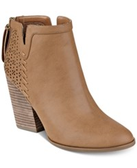 Tommy Hilfiger Lyra Western Booties Women's Shoes Natural Tan