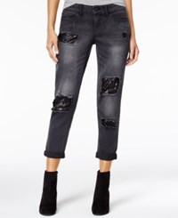 Dollhouse Juniors' Sequins Rip And Repair Jeans Black With Black Sequins