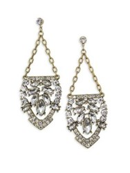 Belle By Badgley Mischka Occasion Chain And Rhinestone Drop Earrings Gold