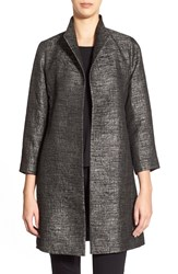 Eileen Fisher High Collar Jacquard Coat Charcoal