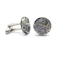 Lc Collection Sophisticated Cufflinks With Vintage Tissot Watch Movement Silver