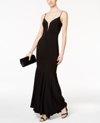 Betsy And Adam Illusion Mesh Mermaid Gown Black