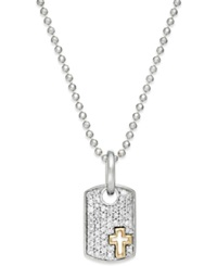 No Vendor Diamond Cross Dog Tag Necklace In Sterling Silver And 14K Gold 1 5 Ct. T.W.