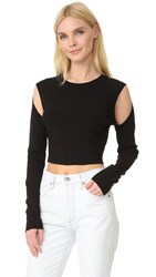 Opening Ceremony Long Sleeve Crop Top Black