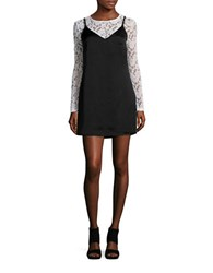 Design Lab Lord And Taylor Long Sleeved Lace Satin Slip Dress Black