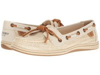 Sperry Barrelfish Heavy Linen Ivory Women's Lace Up Casual Shoes White