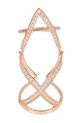 18K Rose Gold Plated Sterling Silver Cz Pave X Knuckle Ring No Color