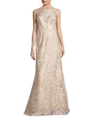 Liancarlo Embroidered Sleeveless Bateau Gown Gold