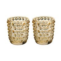 Lalique Mossi Votives Set Of 2 Gold Lustre