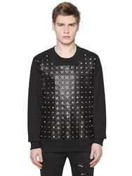 Versus Eyelets Faux Leather And Cotton Sweatshirt