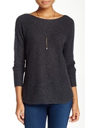14Th And Union Cashmere Shirttail Sweater Petite Gray