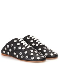 Acne Studios Mika Stone Leather Lace Up Slippers Black