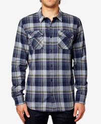 Fox Men's Trail Dust Plaid Long Sleeve Flannel Shirt Indigo