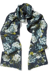 Gucci Reversible Printed Wool Scarf Blue
