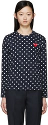 Comme Des Garcons Navy Polka Dot Heart Patch T Shirt