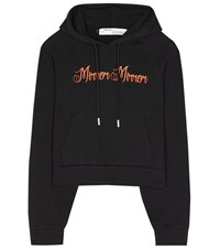 Off White Printed Cotton Hoodie Black