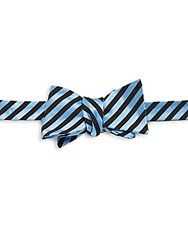 Ike Behar Striped Silk And Cotton Blend Bow Tie Blue