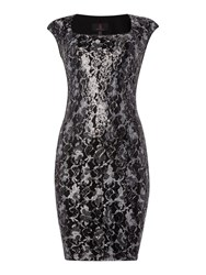 Simon Jeffrey Sequined Lace Dress Black