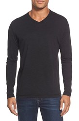 Men's Agave 'Walter' Long Sleeve V Neck T Shirt Caviar Black