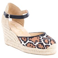 Unisa Caceres Two Part Wedge Heeled Court Shoes Leopard