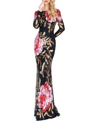Mac Duggal Floral Sequin Long Sleeve Column Gown Black Red Multi
