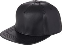Buscemi Postback Leather Hat Black