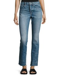 Helmut Lang Distressed Faded Straight Leg Jeans Light Blue