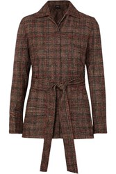 Akris Belted Checked Wool Jacket Brown