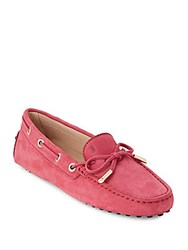 Tod's Leather Moc Toe Boat Shoes Pink