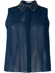 Alice Olivia Embellished Collar Shirt Blue