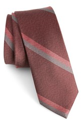 The Tie Bar Men's Stripe Silk Skinny Burgundy