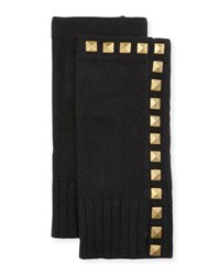Neiman Marcus Studded Cashmere Fingerless Gloves Black Gold