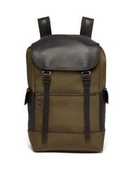 Bottega Veneta Sassolungo Canvas And Leather Backpack Khaki