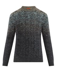 Missoni Ombre Crew Neck Wool Blend Sweater Blue Multi