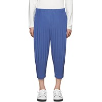 Homme Plisse Issey Miyake Blue Pleated Wide Trousers
