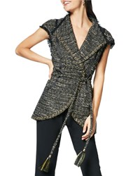 Ramy Brook Emersyn Belted Tweed V Neck Vest Multi Pattern