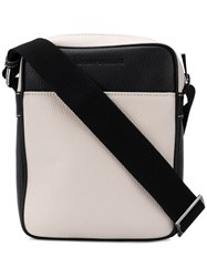 Emporio Armani Grained Leather Messenger Bag Neutrals