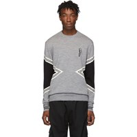 Neil Barrett Grey Modernist Crewneck Sweater