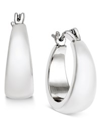 Charter Club Silver Tone Satin Finish Hoop Earrings Only At Macy's